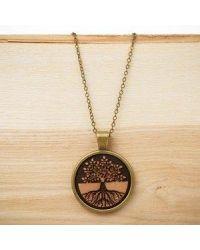 Ogrlica z lesenim medaljonom Drevo življenja 2