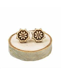 Leseni, ročno izdelani, uhani Mandala zvezdica