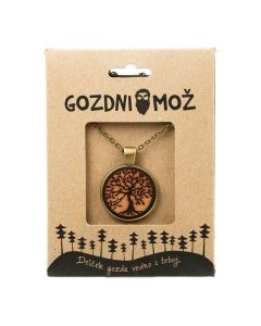 Ogrlica z lesenim medaljonom Drevo življenja