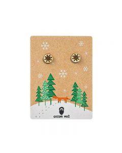 Praznični leseni uhani Snežinka gozdni mož
