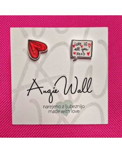 Unikatni uhančki Love is all you need Angie Wall